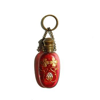 art nouveau  Antique Finger Ring Chatelaine Perfume Bottle