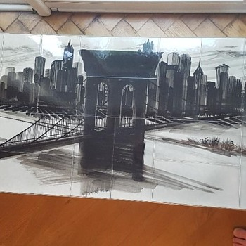 Retro Brooklyn Bridge  New York Tiled Coffee Table - any ideas of the maker ? - Furniture