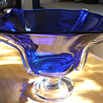 Cobalt compote that matches my large vase - Art Glass