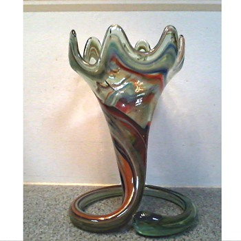 Art Glass Coiled Trumpet Vase / Unknown Maker and Age - Art Glass