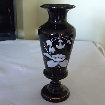 "Beautiful Enamelled Flowers on Possibly ""HARRACH"" Black Amethyst Vase - Art Glass"