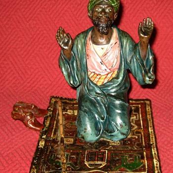 Antique Franz Bergman Bronze Orientalist Praying On Rug - Art Deco
