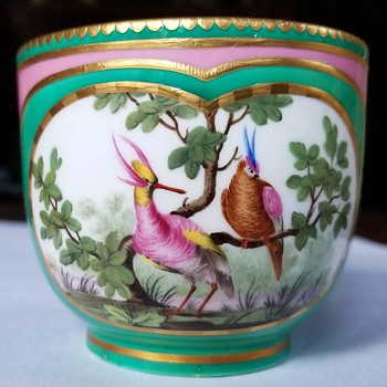 Hand Painted Birds and Gilded Tea Cup, Copelands China, T. Goode Commission, England, ca 1890s-1900s - Animals