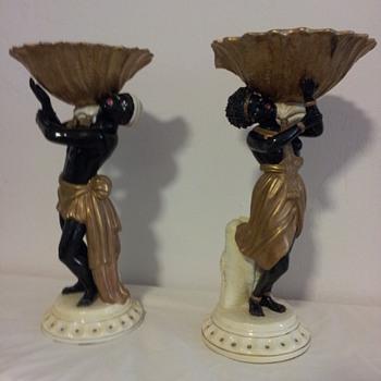A pair of Italian Maiolica Blackmoor figurines
