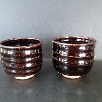 Japanese inspired American (?) meoto yunomi set - Pottery