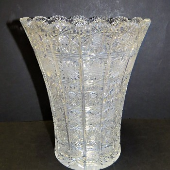 Czech Bohemian Cut Crystal Vase - Queens Lace Pattern - Glassware