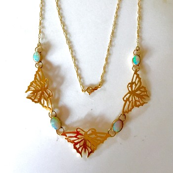 Art Nouveau Fire Opal Butterfly Panelled Lavalier 14kt Necklace  - Fine Jewelry