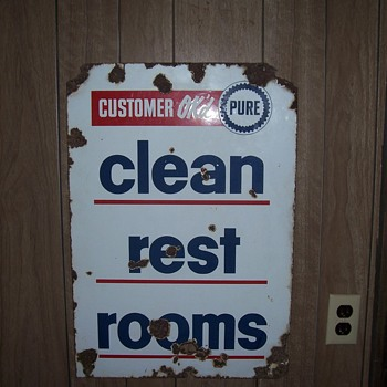 Pure Motor Oil clean restroom porcelain 2 sided sign - Advertising