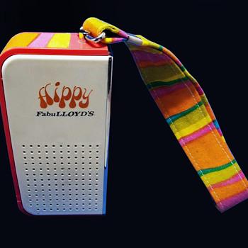 Original vintage circa 1970 FabuLLOYD's ~ HIPPY ~ Psychedelic Transistor Radio in White - Radios