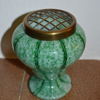 Welz Vertical Stripes green posy vase - Art Glass
