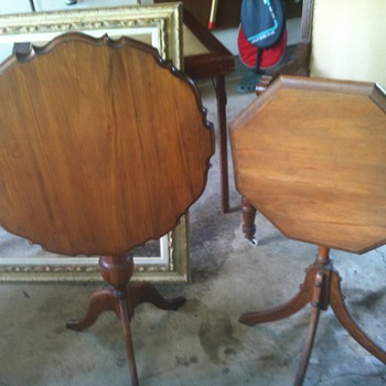 Walnut tilt top table with scalloped edge