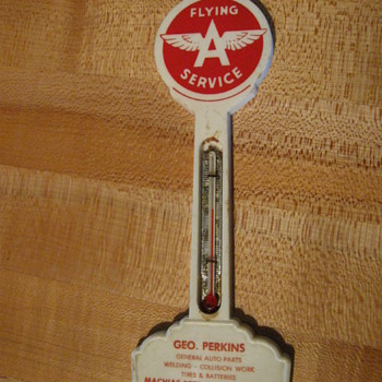 Flying A Service Thermometer, Geo Perkins, Machias NY,  Machias 8378 - Advertising
