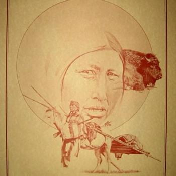 Inidan Art - The Buffalo Hunters - Folk Art