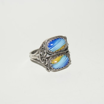 Unusual Filigree Ring with Glass Stones - Costume Jewelry
