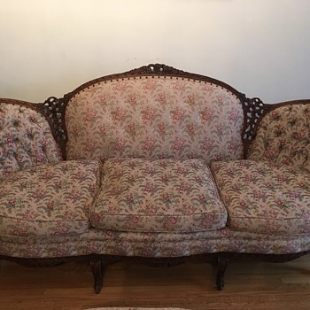 Antique couch chair and ottoman  - Furniture