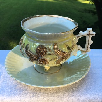Vintage Cup and Saucer with Gold Flowers - China and Dinnerware