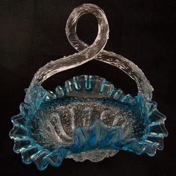Late 1800s Bohemian Overshot Basket - Glassware
