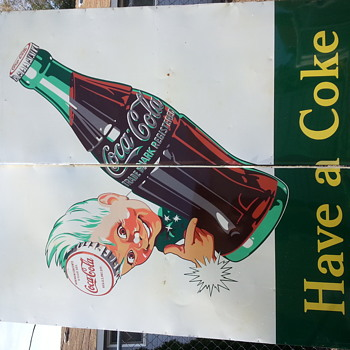 Sprite boy coke coca cola enamel 8' wide by 10' tall sign - Signs