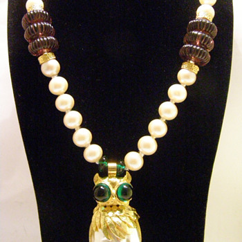Vintage Donald Stannard Owl Pearl Necklace - Costume Jewelry