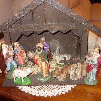 west germany paper mache nativity scene - Christmas