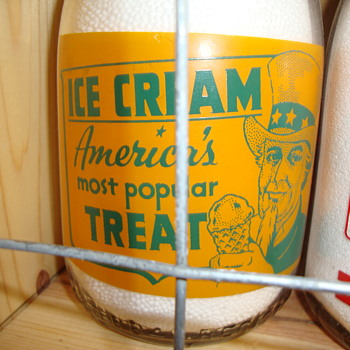 Colorful Creamtop Milk bottle Featuring uncle Sam......