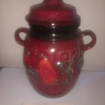 Scheurich Keramik Rumpot, West German vintage, fruit preserver large red and lidded with original instructions - China and Dinnerware