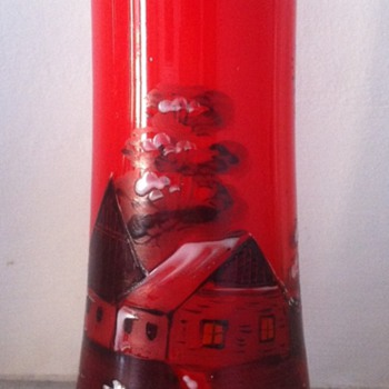 Enamelled Bohemian spill vase - Art Glass