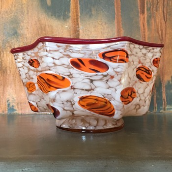 Kralik -knuckle bowl with tiger canes - Art Glass