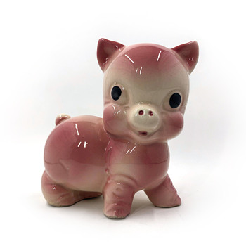 """Rempel Diamond Pottery Pink Chubby Pig Figurine """"Bank"""" - Coin Operated"""