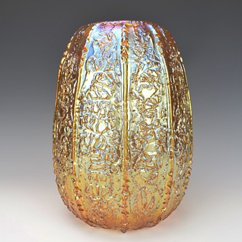 DURAND GOLDEN LUSTER MOORISH CRACKLE VASE  - Art Glass