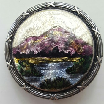 Enamel landscape sterling antique brooch, Thomas L.Mott.  - Fine Jewelry