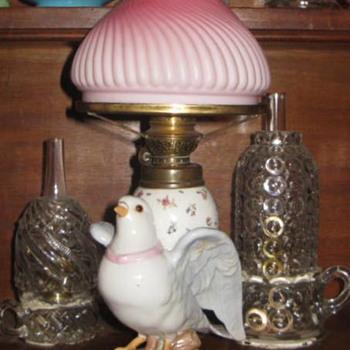 Porcelain Figural 1880's Kerosene/Oil Antique Oil Lamps - Lamps