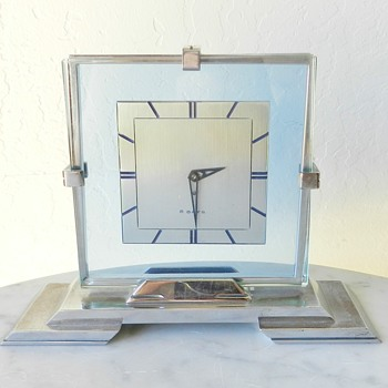 ??? 1930's Art Deco Table Clock - Blue Glass Swiss Movement - Clocks
