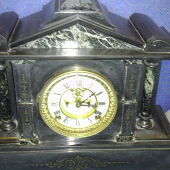 Ansonia marble and cast iron mantle clock