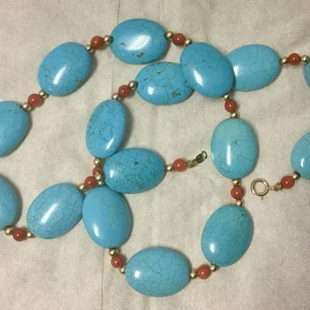 Natural Turquoise? Marked 14k - Costume Jewelry