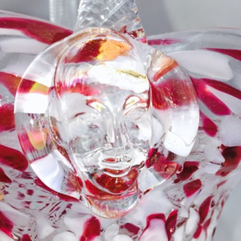 Chalet Sergio Pagnin Face Prunts Red White End of Day Crystal Basket - Art Glass