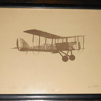 DH-4B Biplane Drawing/Print Limited Edition 42/100 - Military and Wartime