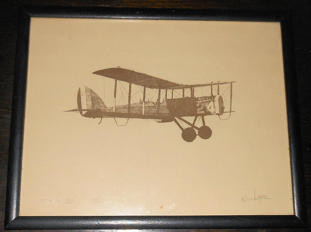 DH-4B Biplane Drawing/Print Limited Edition 42/100   Collectors Weekly
