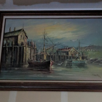 Large harbor painting sign Roberts. - Fine Art