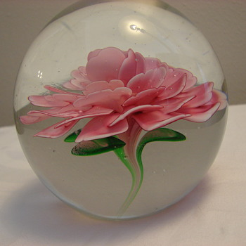 Crimp Rose Paperweight by Unknown Maker