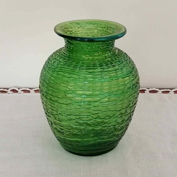 Loetz green Chiné vase, around 1897 - Art Glass