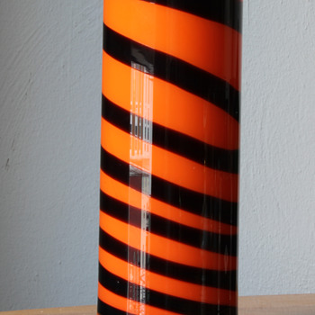 inside orange cased clear with a twisted black glass thread. could this be venetian glass? - Art Glass