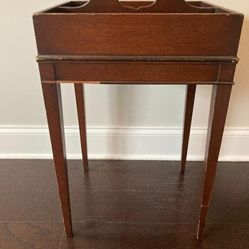 little wooden table - two 'pockets' on top, handle,  and a sliding side shelf - Furniture