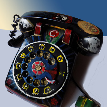 Vintage Hippie Folk Art Telephone, the second I have acquired! - Folk Art