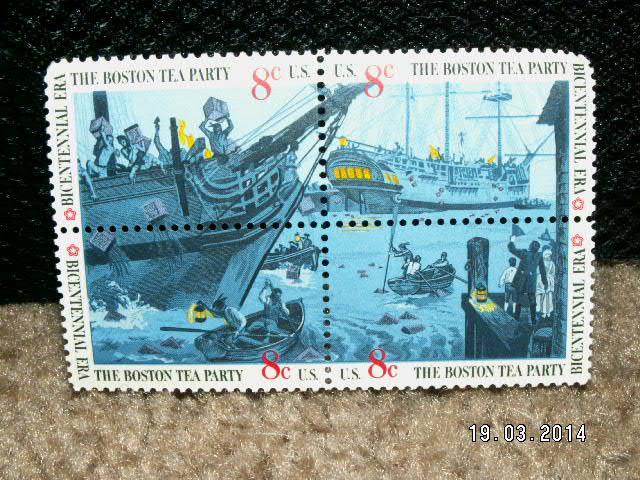 1973 Boston Tea Party Bicentennial Era 8 Stamps