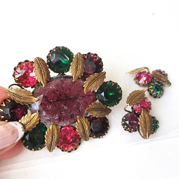 Mystery Brooch & Earring Vintage Set  - Costume Jewelry