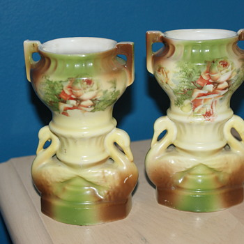 Small Vases with Swans - China and Dinnerware