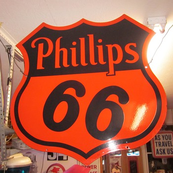 Phillips 66 Porcelain 29 inch Sign Dated 1955 - Signs
