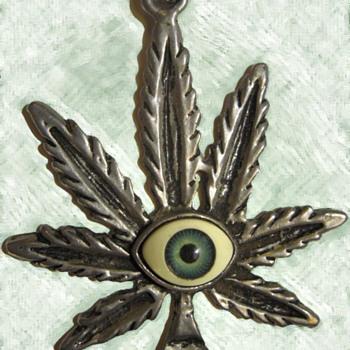 Vietnam Vet's 1960's Psychedelic Hippie Pendant with Glass Eyeball