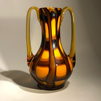 Kralik Orange Webbed Glass Vase - Art Deco